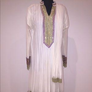 White Anarkali dress